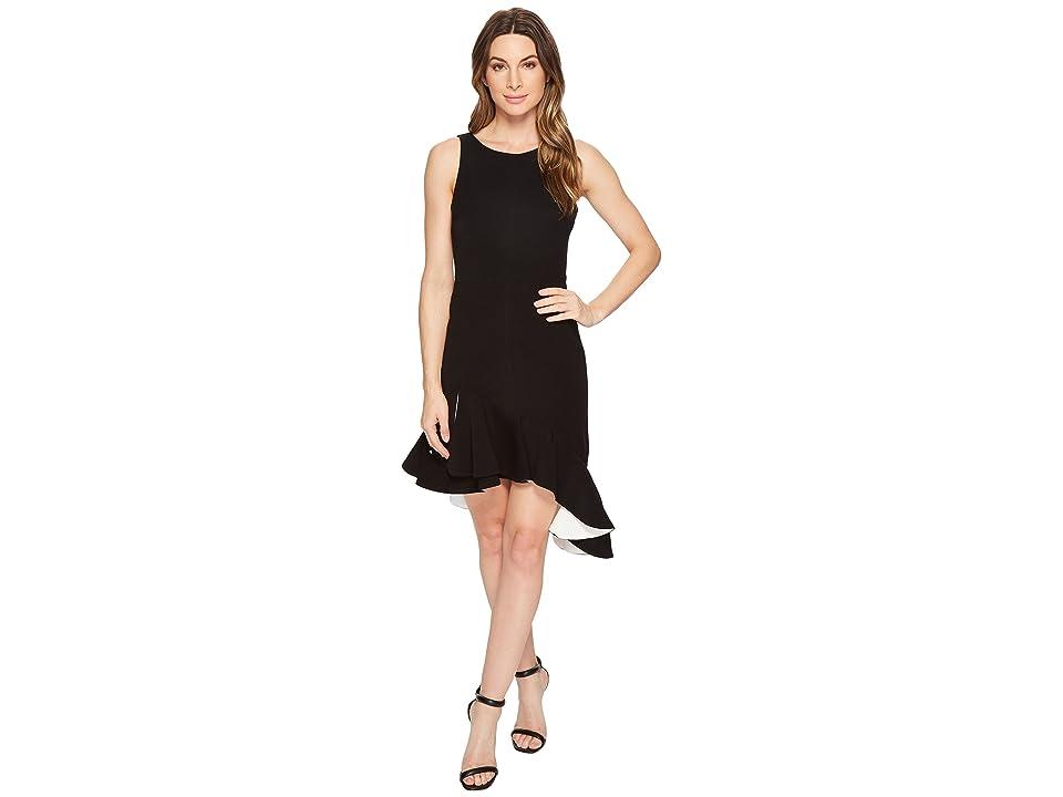 Halston Heritage Sleeveless Scoop Neck Dress Flounce Skirt (Black/Chalk) Women