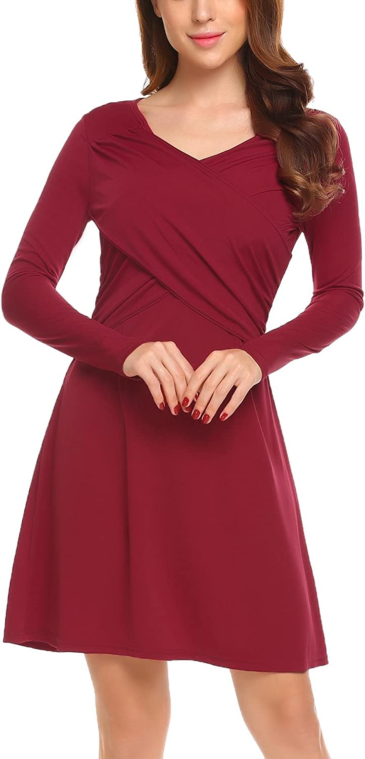 ELESOL Women's Vintage V Neck Long Sleeve Wrap Front Fit and Flare A Line Dress