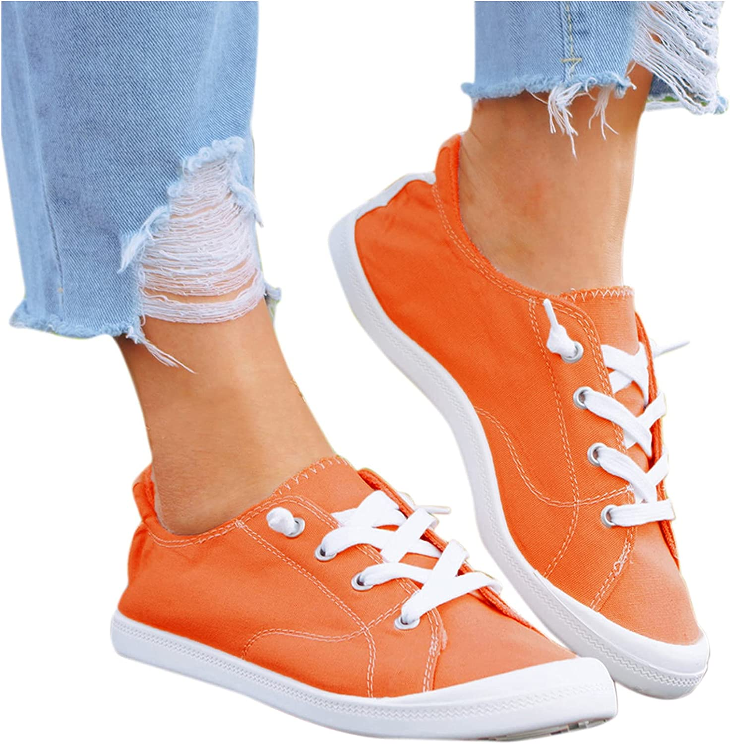 AODONG Walking Shoes for Women Sneakers Canvas Slip On Shoes Women Sneakers Lace Up Loafers Lightweight Running Shoes