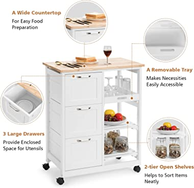 PETSITE Kitchen Island Cart with Storage on Wheels, Small Rolling Island Table with Drawers & Shelves for Home Kitchen, W