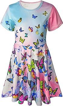 Asylvain Toddler Short Sleeve Casual Summer Dress