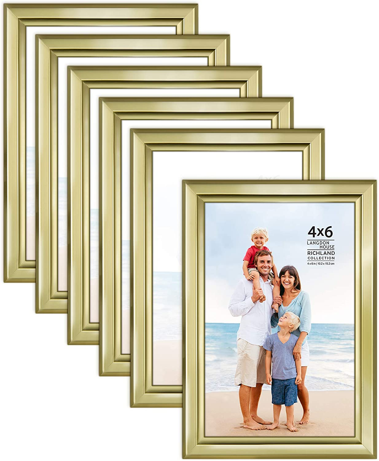 Picture Frames Contemporary Style Wood-Like Photo Frames Langdon House 4x6 Fawn Brown, 6 Pack 10x15 cm Richland Collection