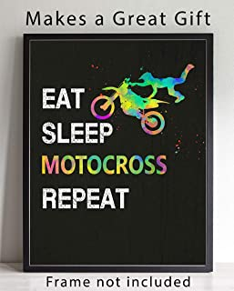 Eat Sleep Motocross Sport Wall Art, 11x14 Ideal for Morocross Riders, Coaches and Fans
