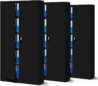 C001 - Juego de 3 armarios de metal para herramientas (185 x 90 x 40 cm), color negro