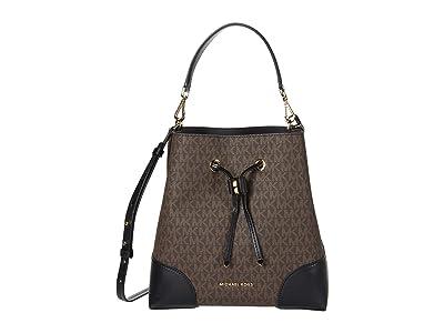 MICHAEL Michael Kors Mercer Gallery Medium Convertible Bucket Shoulder (Brown/Black) Shoulder Handbags