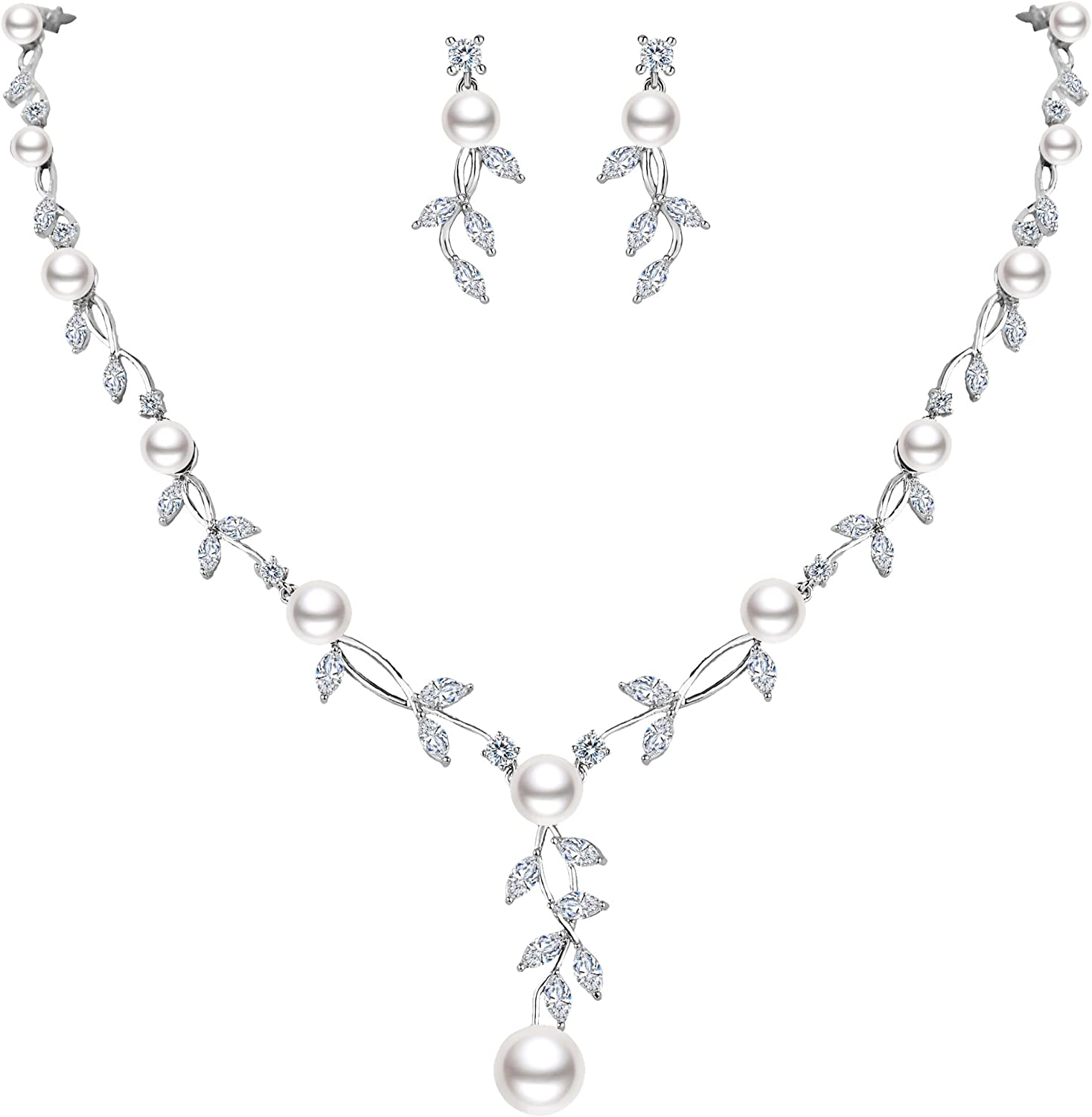 EVER FAITH Wedding Jewelry White CZ Cream Simulated Pearl Floral Branch Pendant Bride Necklace Earrings Set