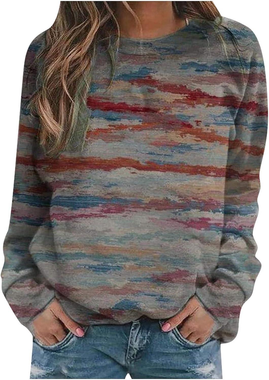 Sweatshirts for Women Long,Women Sweatshirts Tops Long Sleeve Tie-Dye Print Tops Loose Soft Crewneck Pullover Shirts