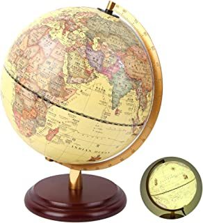 School Supplies Educational Toy Small Globe, 3D Globe, Teaching Tool for Home Office(25cm Antique with Light)