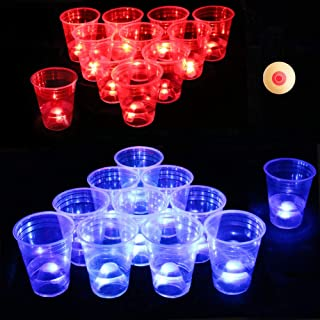 Six Senses Media The Dark Beer Pong Set,Beer Pong Party Cup Set, LED Beer Pong Cups and Novelty Pong Balls,22 Set