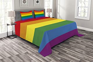 Ambesonne Pride Bedspread, Horizontal Rainbow Colored Flag of Gay Parade Freedom Equality Love Passion Theme, Decorative Quilted 3 Piece Coverlet Set with 2 Pillow Shams, Queen Size, Rainbow
