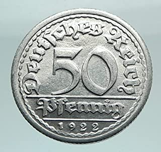 1922 unknown 1922 G GERMANY Weimar Republic Aluminum 50 Pfenni coin Good Uncertified