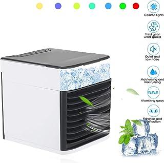 Fesjoy Mini ventilador portátil de aire acondicionado, silencioso, humidificador, evaporador, USB, aire acondicionado personal, 3 velocidades, LED, noche, oficina, dispositivo de refrigeración