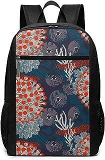Fashion School Backpack,Tissus Marimekko Printed 17in Large Capacity Computer Laptop Bookbags College Bags