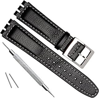 Alligator Grain Cow Leather Stainless Steel Buckle Watch Band Strap for Swatch (17mm, White Stitch/Black)