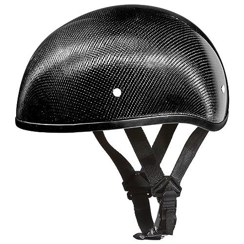 Daytona Helmets Carbon Fiber Slim Line Skull Cap Half Shell Helmet (X-Large)
