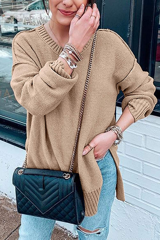 MEROKEETY Women's Casual Crew Neck Side Split Pullover Sweater Loose Long Sleeve Jumper Top