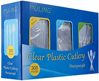 Sponsored Ad - Cutlery Set Plastic Utensils Clear Forks Spoons Knives Disposable Silverware Heavyweight [300 Combo Box]