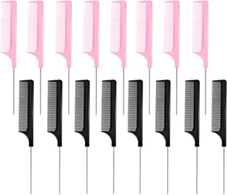 16 Pieces Metal Rat Tail Combs Black Pink Pintail Hair Combs Salon Fiber Back Combs for Women Girls Hair Styling at Home Salon (Black and Pink)