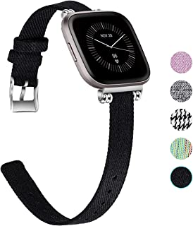 Seltureone Compatible for Fitbit Versa 2 Bands, Fitbit Versa Bands, Fitbit Versa Lite Band, Elegant Bead Nylon Woven Fabric Breathable Accessories Band Versa Smart Watch for Women Men, Large Small