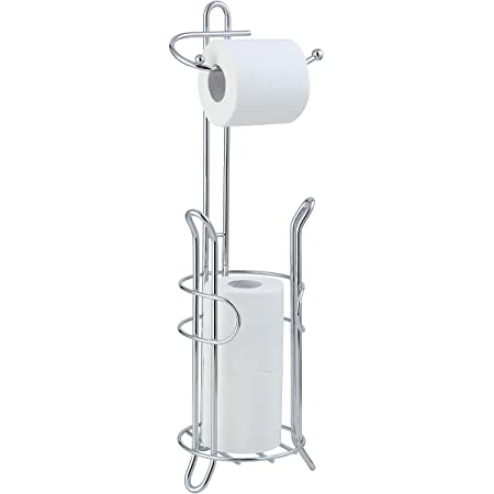 TomCare Toilet Paper Holder Toilet Paper Stand and Dispenser for 3 Spare Rolls Metal Wire Free-Standing Toilet Tissue Paper Roll/ Storage Shelf Bathroom Accessories Storage Organizer Bronze