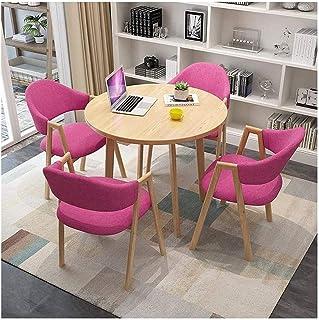 Table de salle à manger, bureau et chaises modernes et minimalistes pour la maison, le jardin, le balcon, table ronde de 9...