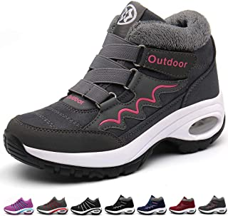 Hsyooes Winter Warm Snow Ankle Boots Fur Lined for Womens Outdoor Non Slip Trekking Hiking Shoes Lightweight Running Trainers