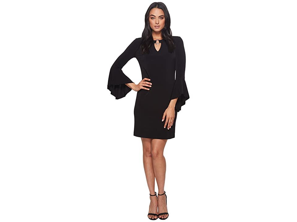 MICHAEL Michael Kors Ring Neck Flounce Sleeve Dress (Black) Women