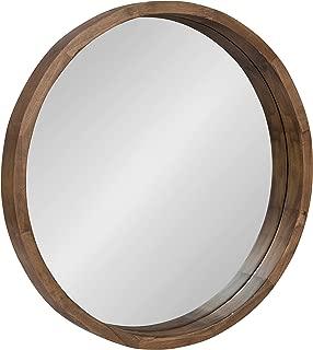 round mirror wooden frame