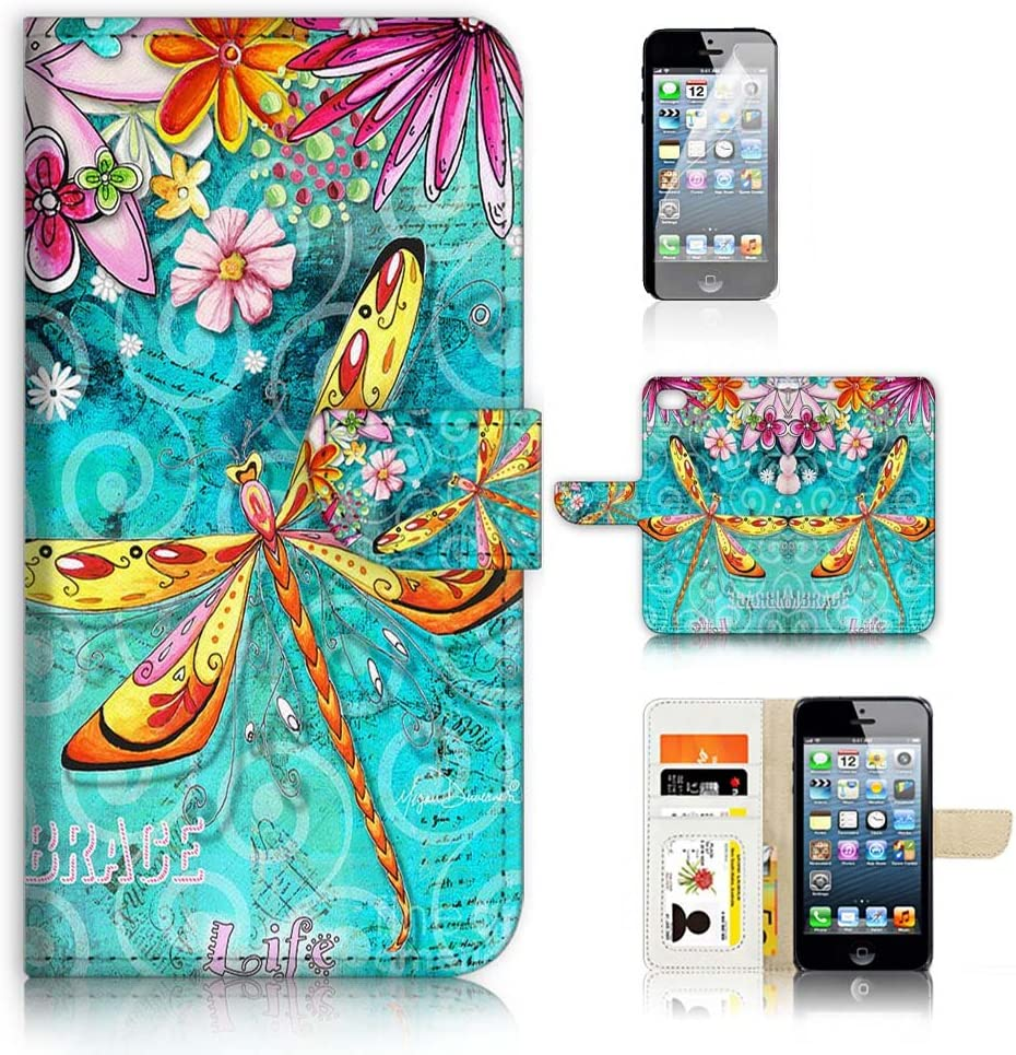 (for iPhone 5, 5S / iPhone SE (2016)) Flip Wallet Case Cover & Screen Protector Bundle - A21095 Dragonfly