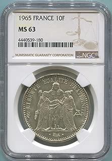 1965 FR France 10 Franc MS63 NGC
