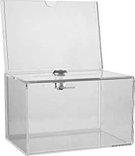 Clear Acrylic Donation Collection Box with Lock - Small - with 4 x 6 Display Area