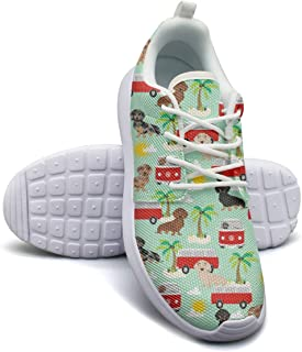 Dachshund Dog with Hippie Bus Palm Women's Lightweight Mesh Tennis Sneakers Comfortable Running Shoes