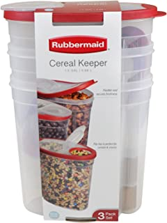 Rubbermaid Snack/Cereal Keeper Container, Red - 1.5 Gallon Each - 3 Pack