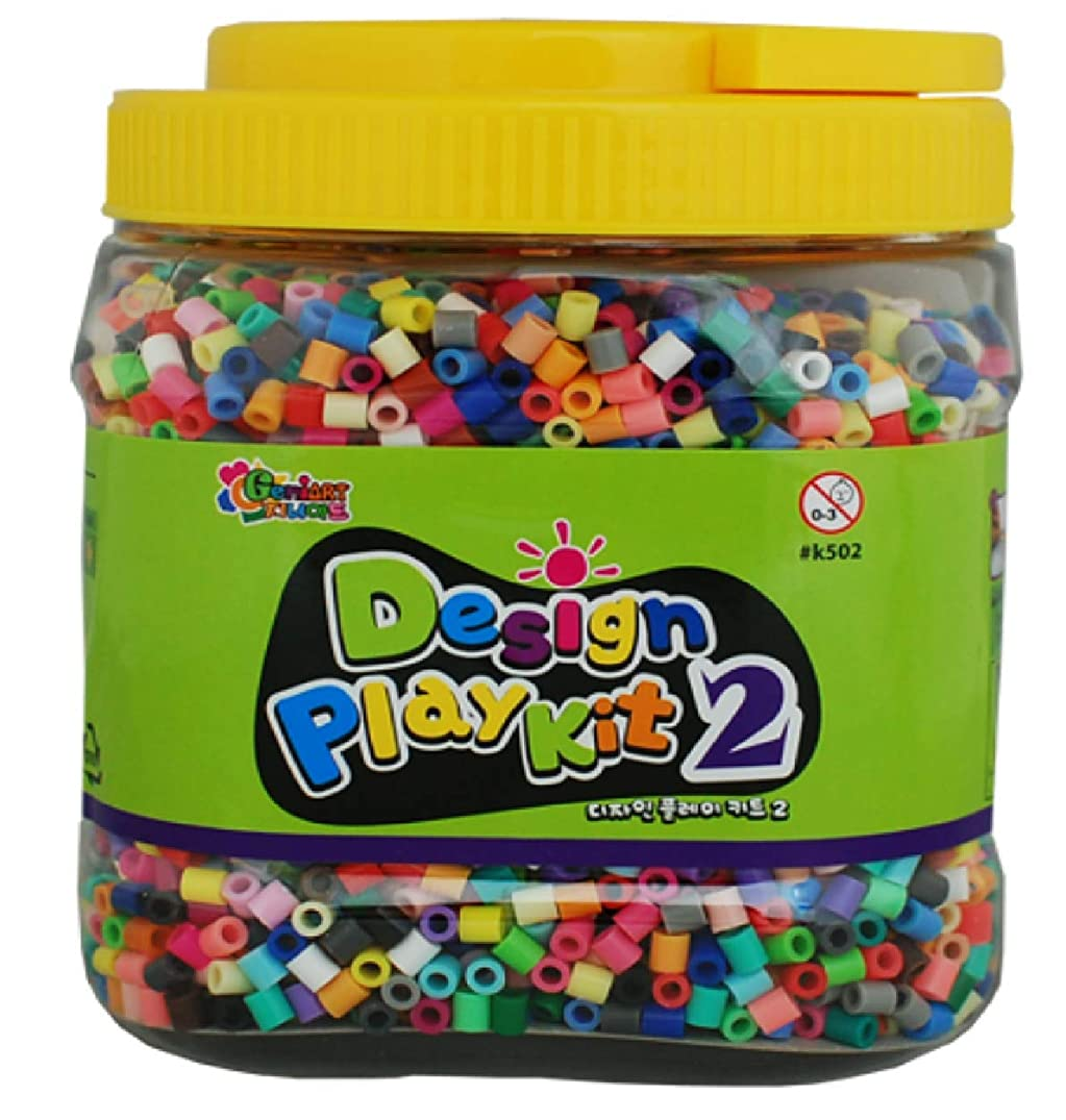 Fuse Beads Set- Design Play Kit 2 -Made in Korea- Includes 5,500+ 5mm Mixed Color Fuse Beads, a Sheet of Ironing Paper, 5 Yellow Pegboards, Tweezers, Instructions, Patterns - Works with Perler Beads