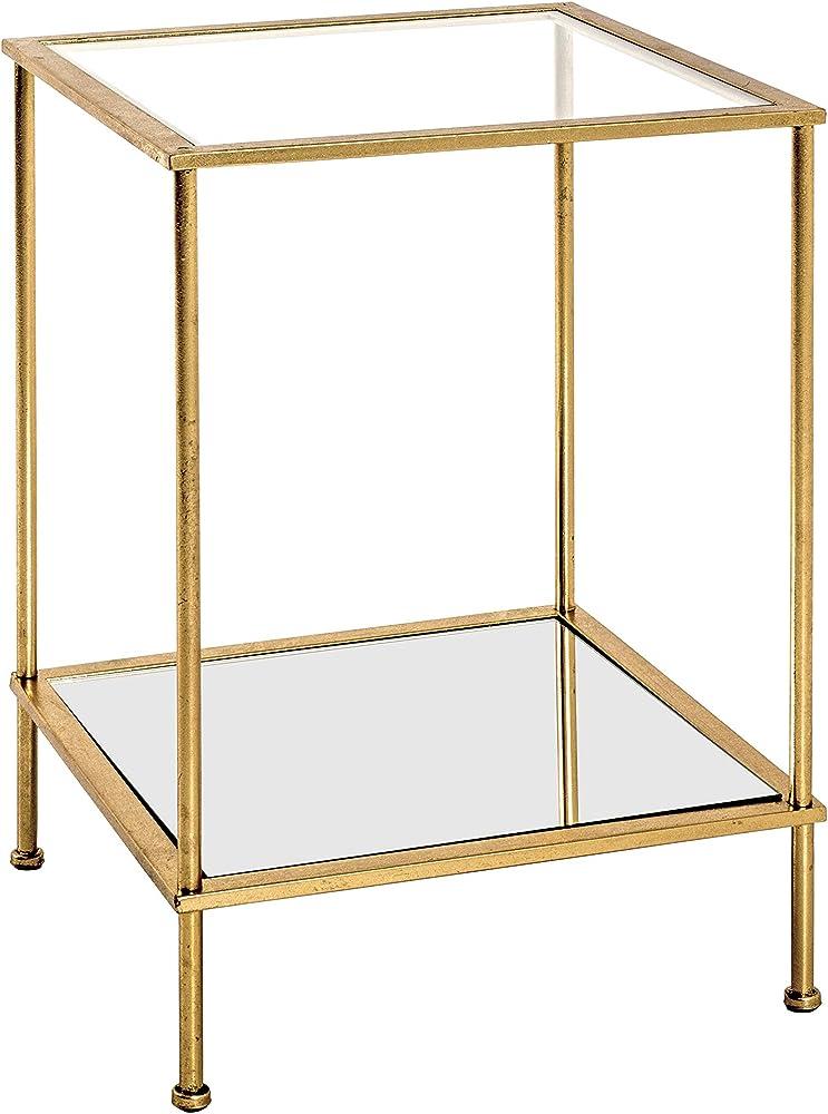 Haku möbel, tavolino ,telaio in tubo d`acciaio verniciato in oro,ripiani  in vetro 20287