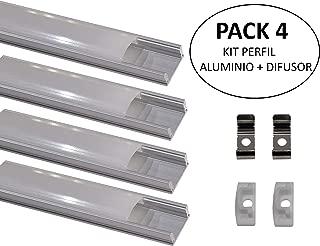 Led Atomant Pack 4 x 1 perfil de Aluminio para Tira Led con Cubierta Blanca Lechosa, Tapones de Los Extremos y Clips de Montaje de Metal Incluidos, 0 W, 1 metro, 4