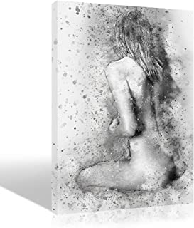 Sexy Woman Picture Nude Body Oil Painting Wall Art Sex Girl Back Hand Painted Black and White Sketch Artwork for Bedroom Living Room Modern Handmade Drawing Handwork Decoration Home Decor,Framed,16x24