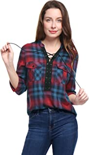 Women's Roll Up Long Sleeve Plaid Shirt Casual Loose Pocket Tie Front Tops