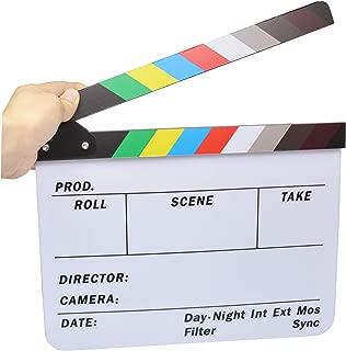 Director's Clapboard, Bestshoot Cut Action Scene Clapper Board Slate Acrylic Film Board, Production Slateboard for Studio Camera Photography Video Movie Dry Erase, 9.5x11.5Inch (Black & White 11x9)