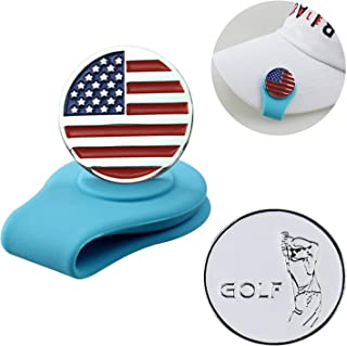 Crestgolf Golf Ball Marker Clip,Silicone Ball Marker Holder with Strong Magnetic Attach to Your Pocket Edge, Belt, Clothes,Great Gift for Golfing Friends Pack of 1hat Clip and 2ball Marker