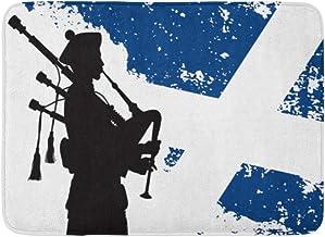 Alfombras de baño Alfombras de baño Alfombrilla para Puerta Exterior/Interior Gaita Azul Silueta de gaitero Bandera Escocesa Escocia Hombre Decoración de baño Militar Alfombra Alfombra de baño