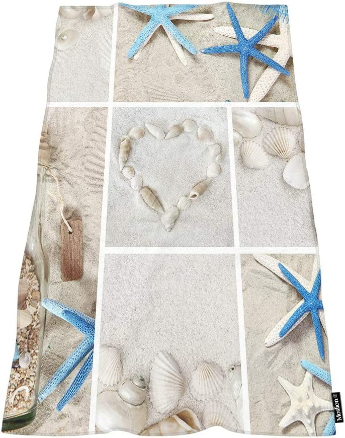 Moslion Comfy Bath Towels Seashell Grid Limited time cheap sale Starfish Max 63% OFF Bottle Drift So