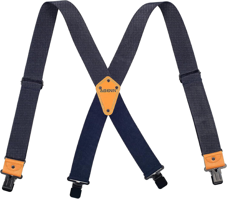 Men's Industrial Strength Suspenders 2 inch Wide Suspenders for Men Heavy Duty with 4 Strong Clips Adjustable Brace