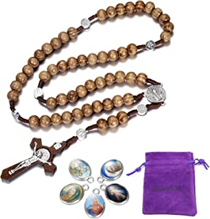 LH1028 Catholic Rosary Round Wooden Bead Handmade Line Christian Vintage Cross Ornament Rosary Necklace