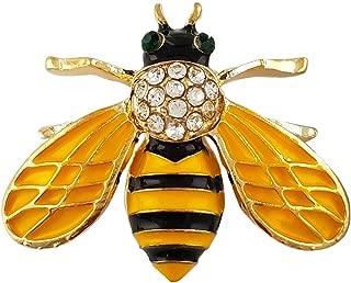 SELOVO Honeybee Bee Yellow Enamel Small Cute Brooch Pin Gold Tone Clear Crystal