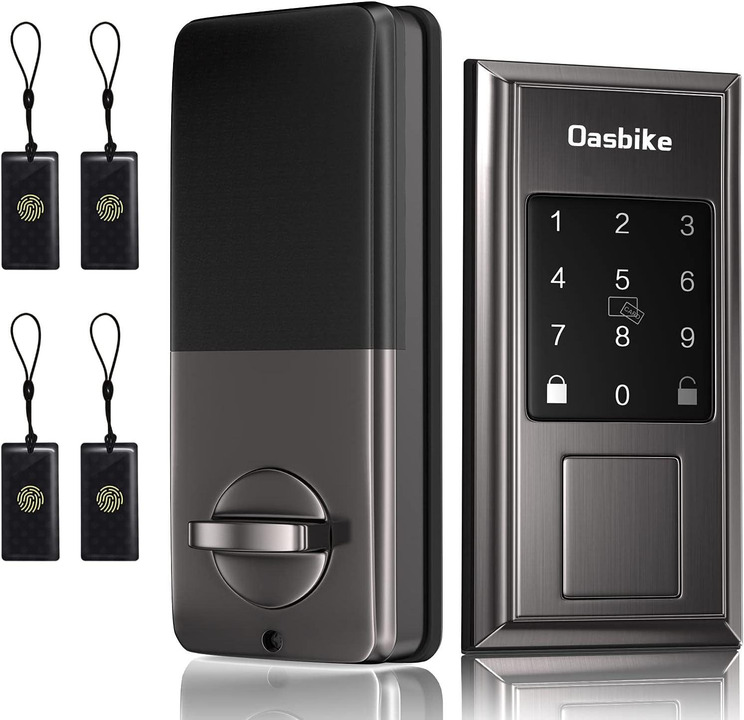 Oasbike Smart Lock, Keyless Door Locks for Homes, Touchscreen Keypad, Keyless Entry Door Lock Featuring Auto-Locking Suitable for Alexa & Google Assistant, Satin Nickel