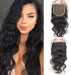 Luwigs 5x5 Lace Closure with Baby Hair Body Wave Free Part Brazilian Human Virgin Hair Lace Pieces Bleached Knots Natural Color (20 inches, Body Wave)