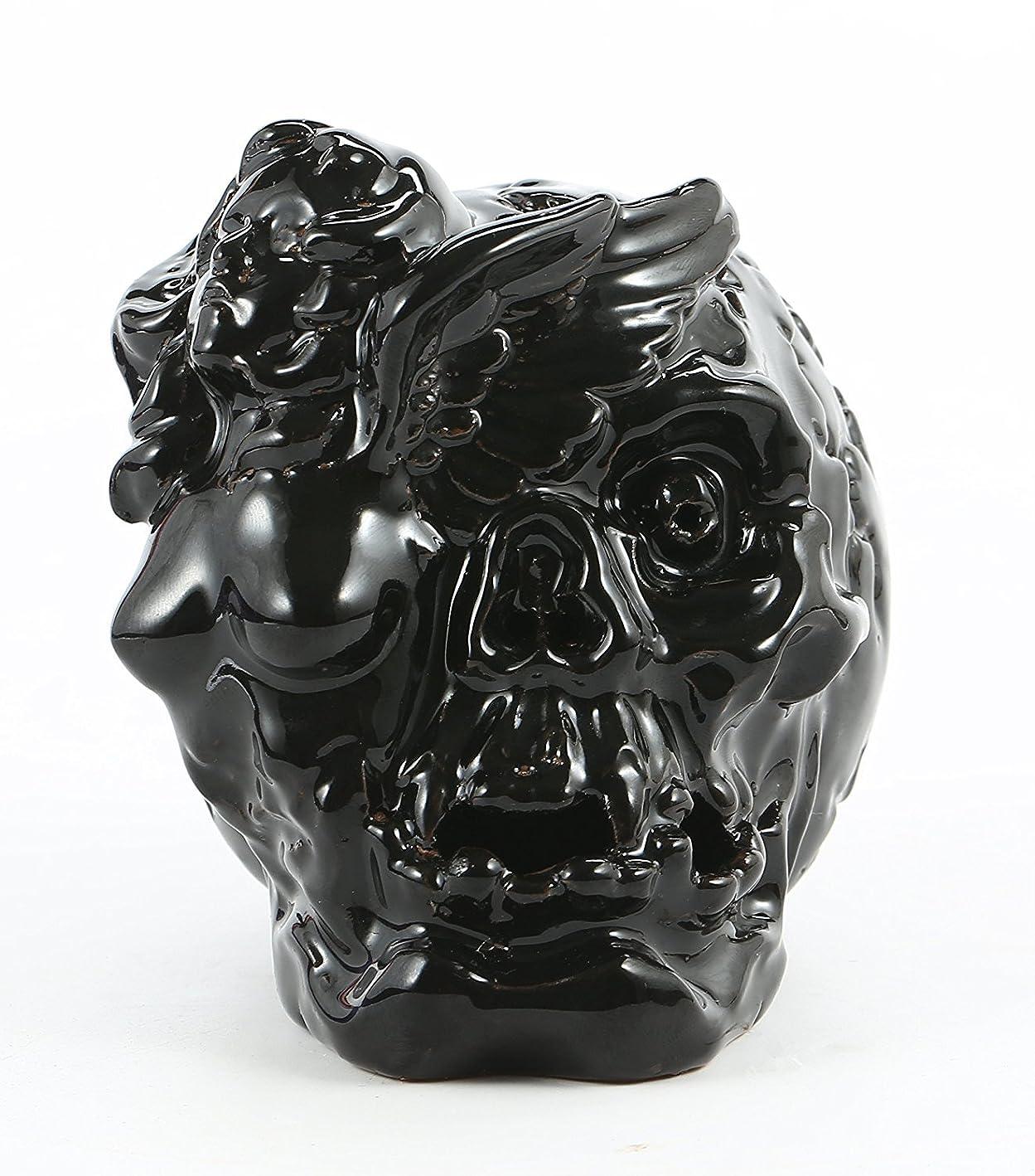 展開する欠陥出くわすAngel with Skull Backflowセラミック香炉アロマセラピーホームDecor 10?Incense Cones