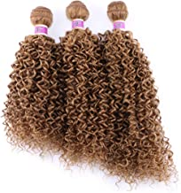 Kinky Curly Synthetic Hair Weave 3 Bundles 16 18 20 Inches Color 27 Heat Resistant Fiber Hair Extensions