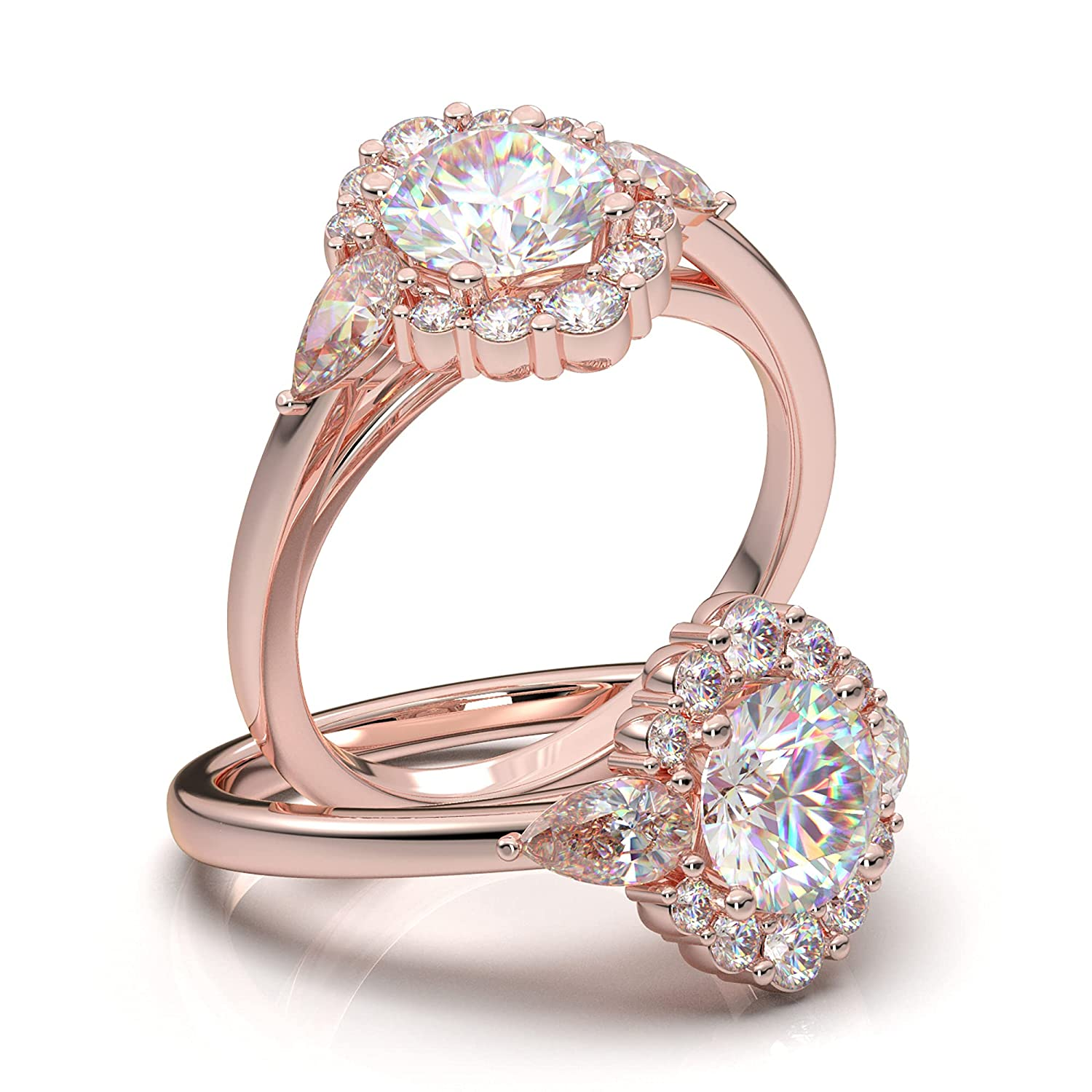 Rose Gold Unique Halo Popularity Engagement Oval Shap Ring Albuquerque Mall Pear Shaped